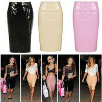 New 2014 European Fashion Women Black PU Skirt Vintage High Waist Leather Solid A-Line Skirt Casual Empire Knee-Length Saia