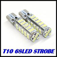 4PCS/LOT t10 strobe high quality Strobe flash w5w 68smd  t10 68led 3014smd car led Light Bulbs wholesale free shipping