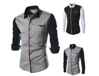 2014 NEW fashion Korean Men's spring Slim casual stitching long-sleeved shirts autumn man Tops Tees