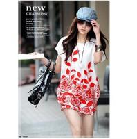 Hot Sale 2014 Summer EU&US Fashion Casual Elegant Women Dress Print Pattern Colorful O-Neck Casual Dress