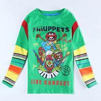 Boy T-shirt Green Cartoon T shirt Spring Autumn for Child Boys Long sleeve Clothes Fashion Children T shirt 5pcs/lot A5653Y
