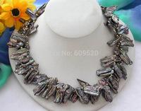 "2row 18"" 30mm black dens biwa cultured PEARL necklace"