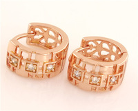 Free Shipping 1pair=2pcs 14K ROSE Gold Filled Cubic Zirconia Holloiw Retro Pretty Tiny Women's jewelry Hoop Earrings TG018