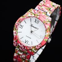 New Geneva Women's Watch Fashion Print Rose Flower Quartz Watches Luxury Imitation Ceramic Lady's Brand Dress Wristwatch
