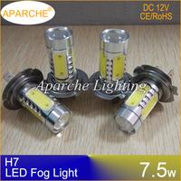 4PCS/LOT H7 7.5w LED Lamp H7 Socket with Lens Car LED Front Headlights H7 Low Beam Light Fog Bulb Lights Lamp DC 12V White