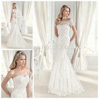 vestido de noiva 2015 White Lace Sweetheart Wedding Dresses Mermaid Wedding Dress Elegant Cap Sleeves