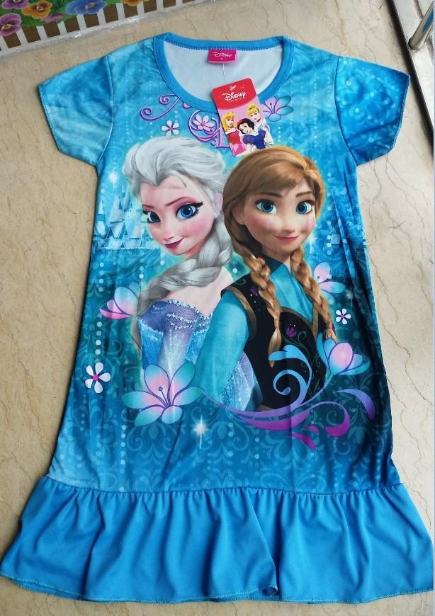 Frozen-2014 summer new Frozen girl child snow princess dresses character models short-sleeved dress(China (Mainland))