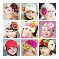 Infant baby girls warm flowers handmade  hat knitted hat children hat