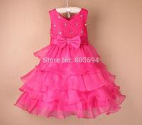 1Pc Retail 2015 Newly arrived Summer Girl Dress Elegant Dress Party Baby Girl Princess Children wedding Dress P-Dec5