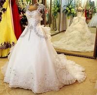 The new summer 2014 long trailing crystal wedding dress gy133