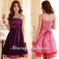 L-3XL Brand Elegant Ladies Plus Size Pleated Flowers Ribbon Bow Formal Dress Women Ball Gown Dress Short Party Dresses 3110