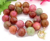 "beautiful 18"" 18mm round nature multicolor jade necklace"