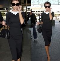 Free shipping +2014 Fashion Star Style Victoria Beckham Dress Slim Elegant Turn-down Collar Long Sleeve Black Dresses for Women