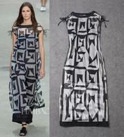High Quality New European Fashion 2015 Spring Summer Dress Women 100%Silk Geometric Print Silk Dress Design Long Dress Freeship