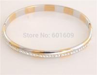 Free Shipping! Wholesale 1pc 14K Two-Tone Gold Filled around Cubic Zirconia unisex Closed Bangle Bracelet TG036