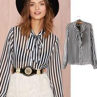 2015 New Stripes Chiffion Blouse for Women Summer Ruffled Collar Shirts Femininos Bow Long Sleeve Plus Size Chiffon Shirts nz210