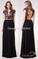 Sexy Open Back Short Sleeves Black Lace Appliques Evening Dress Long Prom Dresses 2015 Hot Vestido Longo