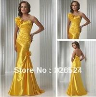 Custom made Cheap One Shoulder Satin Ruffle Hand Made Flower Mermaid Evening Dress HS309