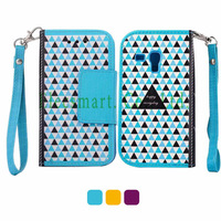 New PU Leather Geometric Triangles Magnetic Wallet  Stand Flip Cover Case with Lanyard for Samsung Galaxy S3 Mini
