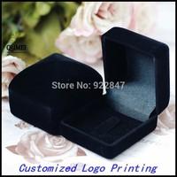 6pcs/Lot  New Velvet Ring Box  Black Romantic Wedding Velvet Ring brooch  Box Jewelry Display Gift Case Customized Logo Printing