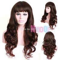 60cm Long Brown&Red Mixed Black Fade Wavy Women Fashion Synthetic Party Wig Kanekalon Fiber no lace Hair wigs Free shipping