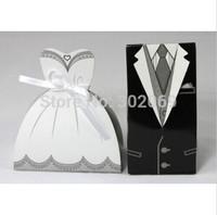 New Elegant Dress and Tuxedo Bride & Groom Wedding Favor Boxes