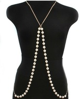BP002 Free shipping fashion harness statement body blue pearls chains long necklace  metal jewelry