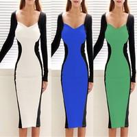 2015 New Fashion Spring Long Sleeve Slim OL  Patchwork Casual Pencil Dress Woman Sexy Bodycon Elegant Party Dresses S-XXL