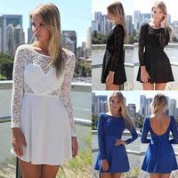 Vestidos Para Verao 2015 Short Backless Evening Dresses Women Crochet Embroidery Long Sleeve Chiffon Lace Women Dress Mini 7231