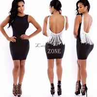 2015 Women's Party Vestidos Tank Pencil Dress Mini Bandage Backless Sexy bodycon Dresses Night Club Wear Size S M L b9 CB033628