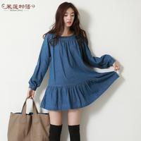 2015 Sale Spring Autumn Women's Plus Size Jeans Dress Denim Dress Long-sleeve Elastic Waist Denim Slim Waist Casual Female