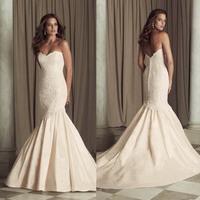 2015 New Pink Mermaid Lace Wedding Dresses Bride Dress Sweetheart Taffeta Wedding Gown Vestidos De Noiva Sereia HS073