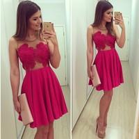 2015 New Fashion Women Casual Dress Plus Size Formal Dress Female Red V-Neck Gauze Patchwork Lace Dress