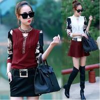 Korean Style Autumn Winter New Women Fashion Blouse Diamonds O-neck Printing Long Sleeve Pullover Shirt Three Colors