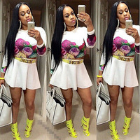 Sexy Women Long Sleeve Casual Summer Cocktail Party Short Slim Two-Pieces Dress