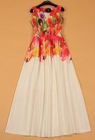 2015 new runway brand style ladies elegant Fairy sleeveless flower print V-neck expansion bottom full maxi long one-piece dress