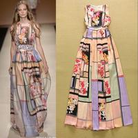 High Quality 2015 New Fashion Spring and Summer fashion style plaid printed dress holiday dress big swing