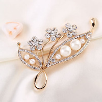 Free shipping!!!Glass Pearl Brooch,Brand, Zinc Alloy, with Glass Pearl, rose gold color plated, with rhinestone