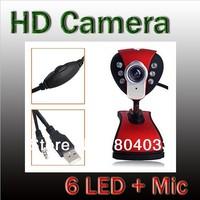 2015 Plug&Play Red Digital USB 2.0 50.0 Mega Pixel HD Webcam Camera Web Cam 6 LED CMOS + MIC Microphone for PC Laptop Notebook