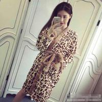 Necessary pajamas autumn winters sexy leopard coral fleece bathrobe SW110