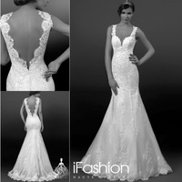 Sexy Formal Lady's Fishtail V Neck Low Back Wedding Gown Dress Sweep Train Imported Wedding Dress With Appliqued SG032