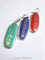 TBP800 Tibetan Mantras Amulets Pendants copper inlaid turquoise Coral Lapis pendants OM MANI PADME HUM