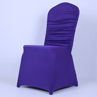 free shipping purple ruffled    polyester  spandex chair cover for banquet chair weddings