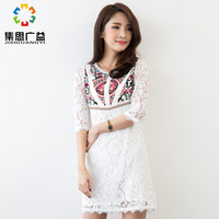 Original spring autumn white long-sleeve lace cutout one piece special National print dress plus size clothing slim waist skirt