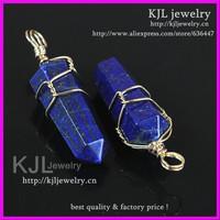 15x50mm Crystal Lapis Lazuli Point Agate Gems Stone Pendant,Gold Color Wire Wrapped Plated Druzy /Quartz Stone Pendant