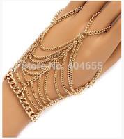 HA009  Free shipping fashion wome pearls hand chain bracelets  metal jewelry