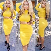 Christmas Designed women yellow slim wool knit dress elegant 2 piece nightclub bodycon bandage dress Fit S~L
