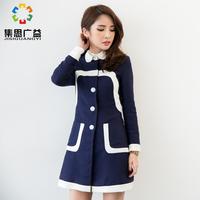 Free shipping original dark navy outerwear autumn small flower woolen jacket plus size clothing slim waist  high quality