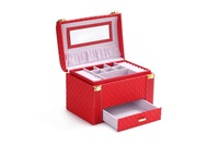 Wholesale!High quality jewelry boxes,korea fashion jewel carrying cases,red wedding box,christmas gift case,drawer case for gift