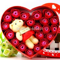 19 soap rose Flowers+bear box set Creative romantic valentine's day gift decoration  soap roses flower home decor